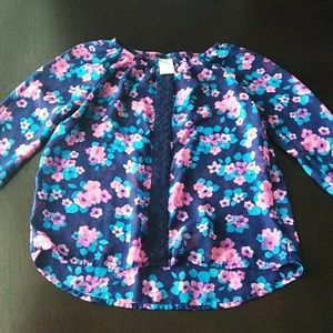 Faded Glory Blue Floral Blouse